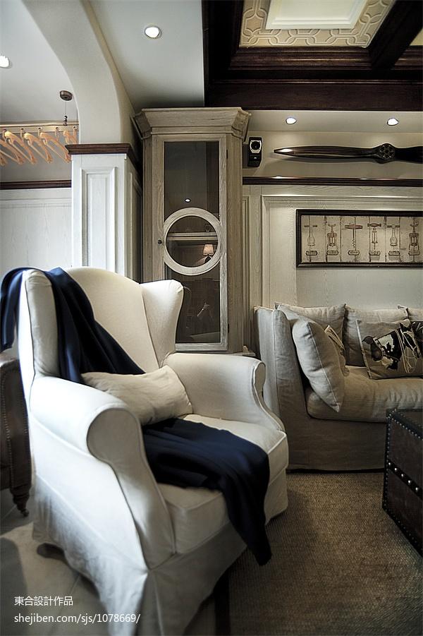 热门面积93平美式三居客厅效果图片欣赏