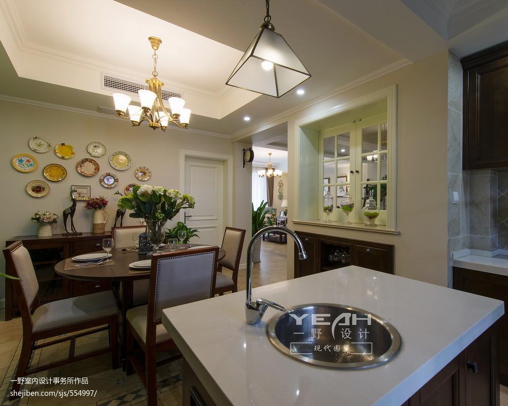 2018面积119平别墅餐厅美式装修效果图片欣赏