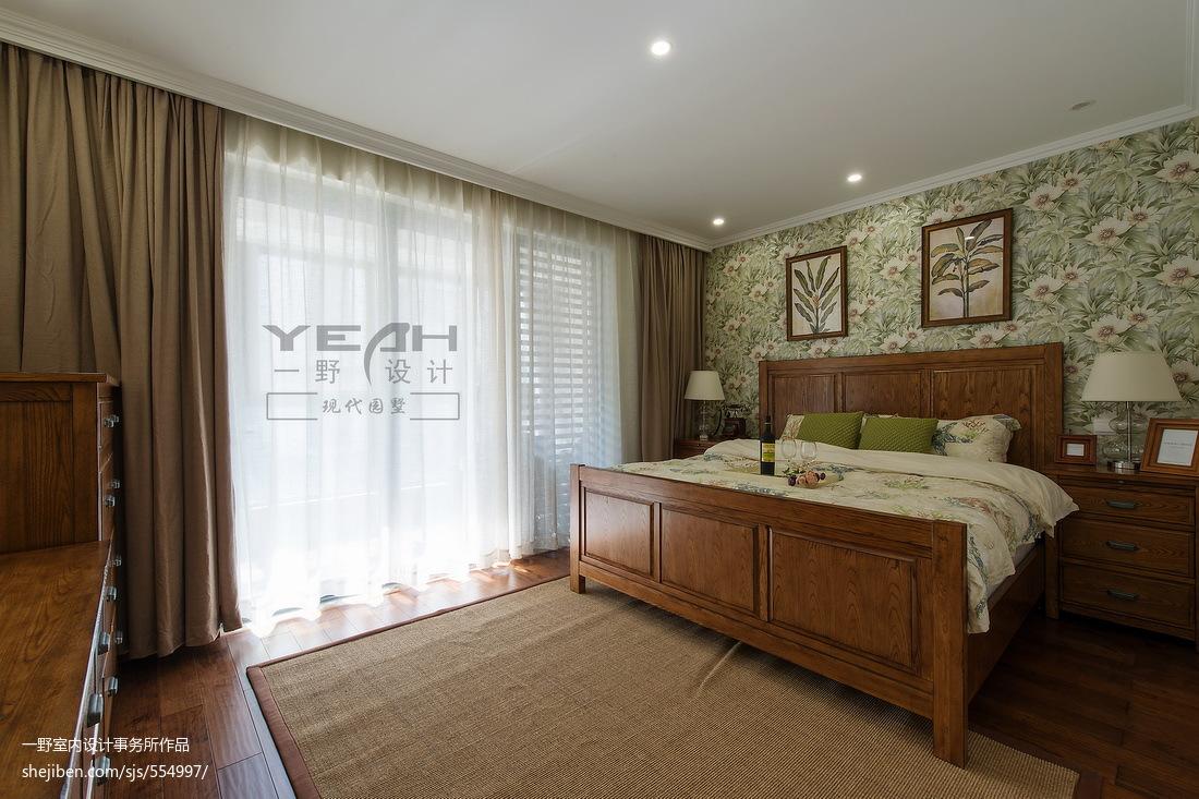 美式别墅卧室窗帘装修效果图大全2017图片
