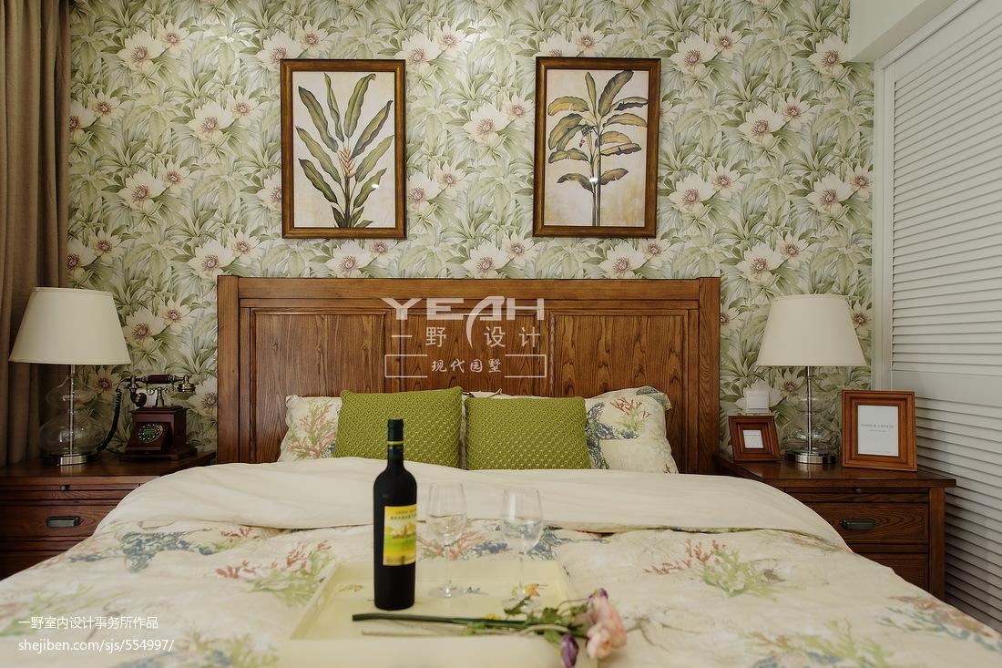 美式卧室背景墙装修图片