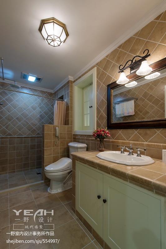 美式风格叠加别墅卫生间装修效果图大全2017图片