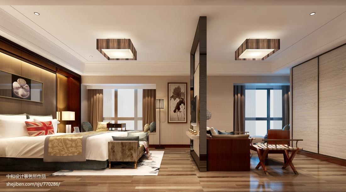2018141平米四居卧室中式装修设计效果图片大全
