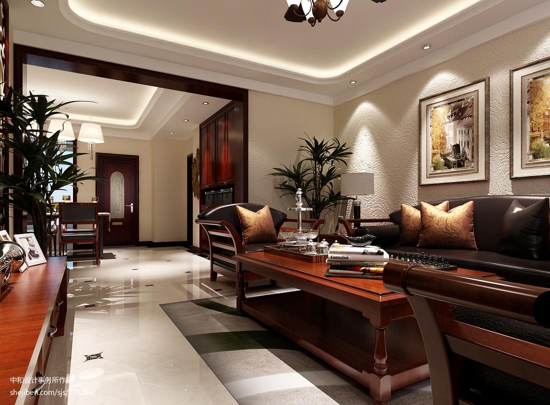 精选面积70平中式二居客厅装修实景图片