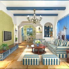 精选109平米三居客厅地中海装饰图片欣赏