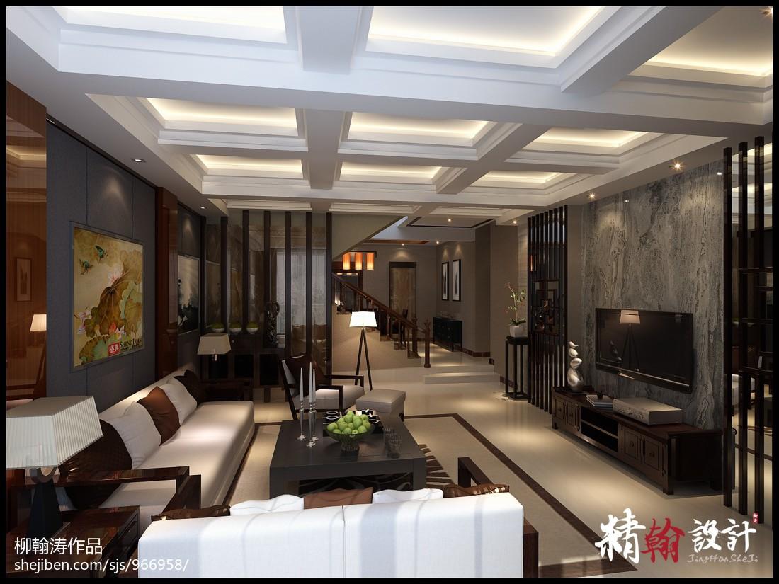 美式现代家居客厅背景墙设计效果图片
