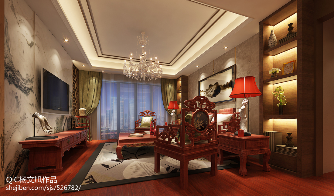 新中式客厅电视墙