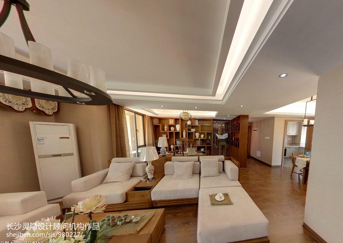 精美面积133平中式四居客厅装修设计效果图片欣赏