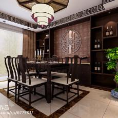 2018精选123平米中式别墅餐厅装修效果图片欣赏