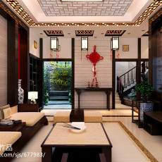 2018面积144平别墅客厅中式装饰图片