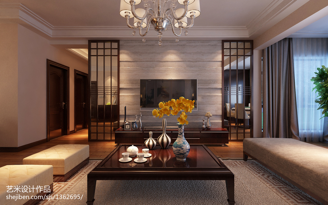 简约中式室内装饰花瓶效果图