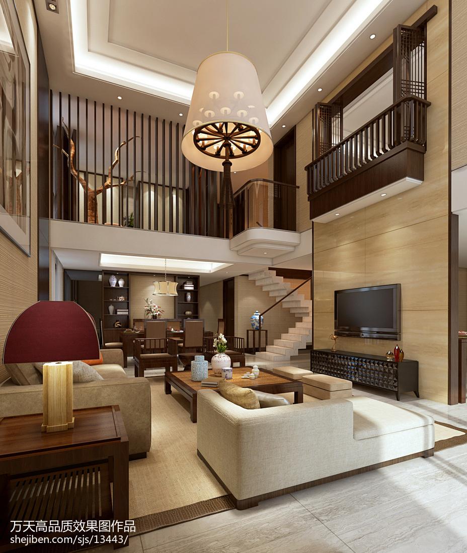 精美面积114平别墅客厅现代装修设计效果图