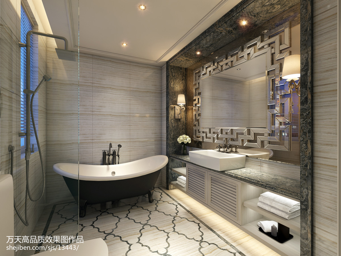 2018精选面积131平别墅卫生间欧式装饰图片