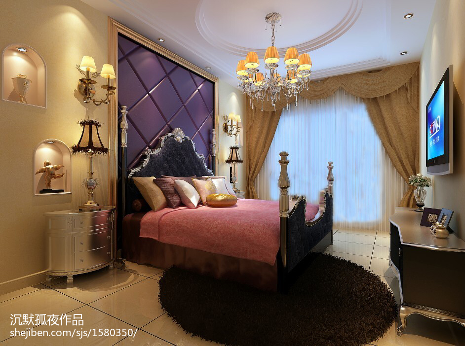 热门面积132平别墅卧室欧式装修设计效果图