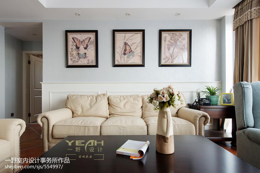 休闲美式风格客厅背景墙装修效果图大全2017图片