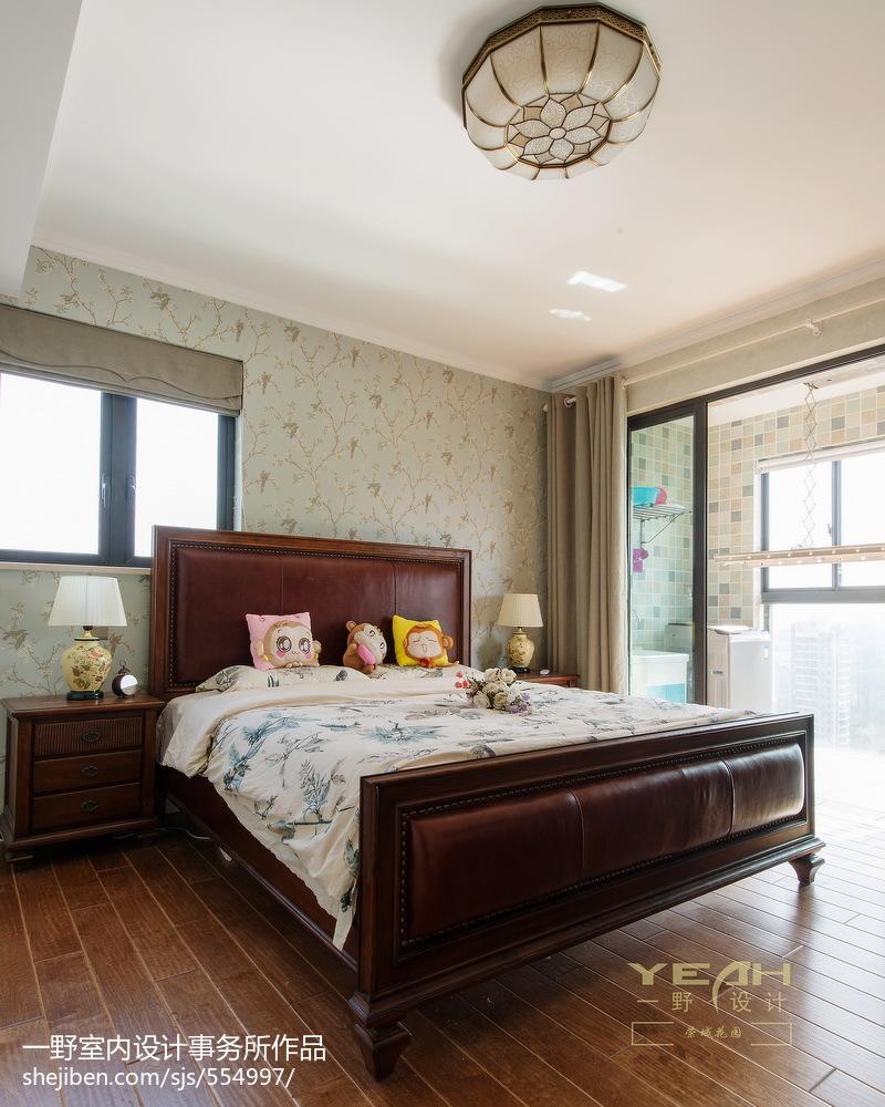 二居室美式风格卧室背景墙效果图