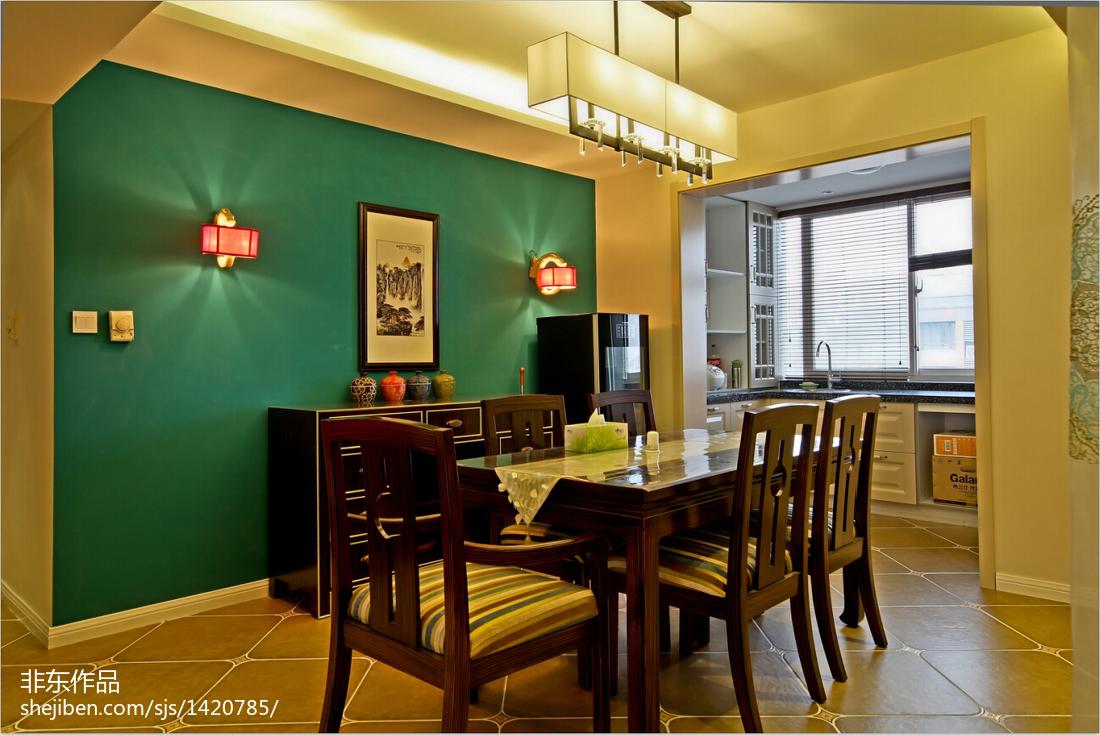 精选面积113平别墅餐厅中式装修欣赏图