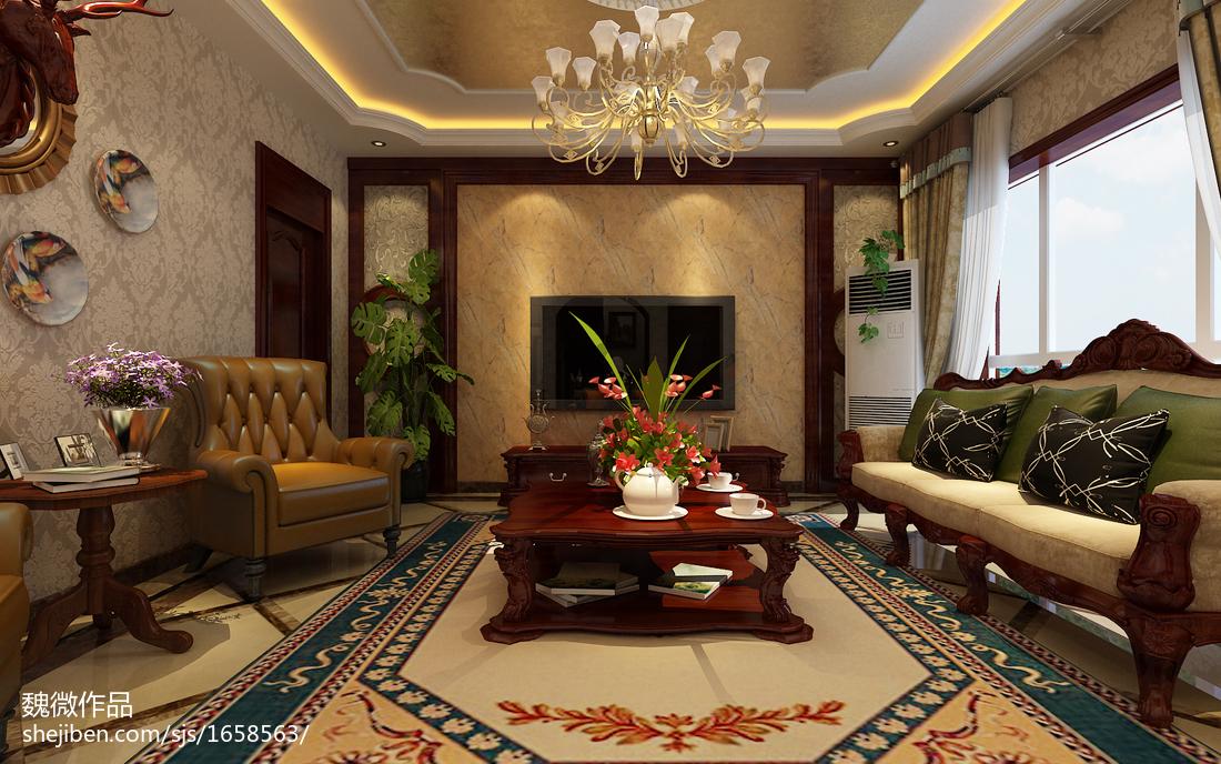 精选别墅客厅美式实景图片大全