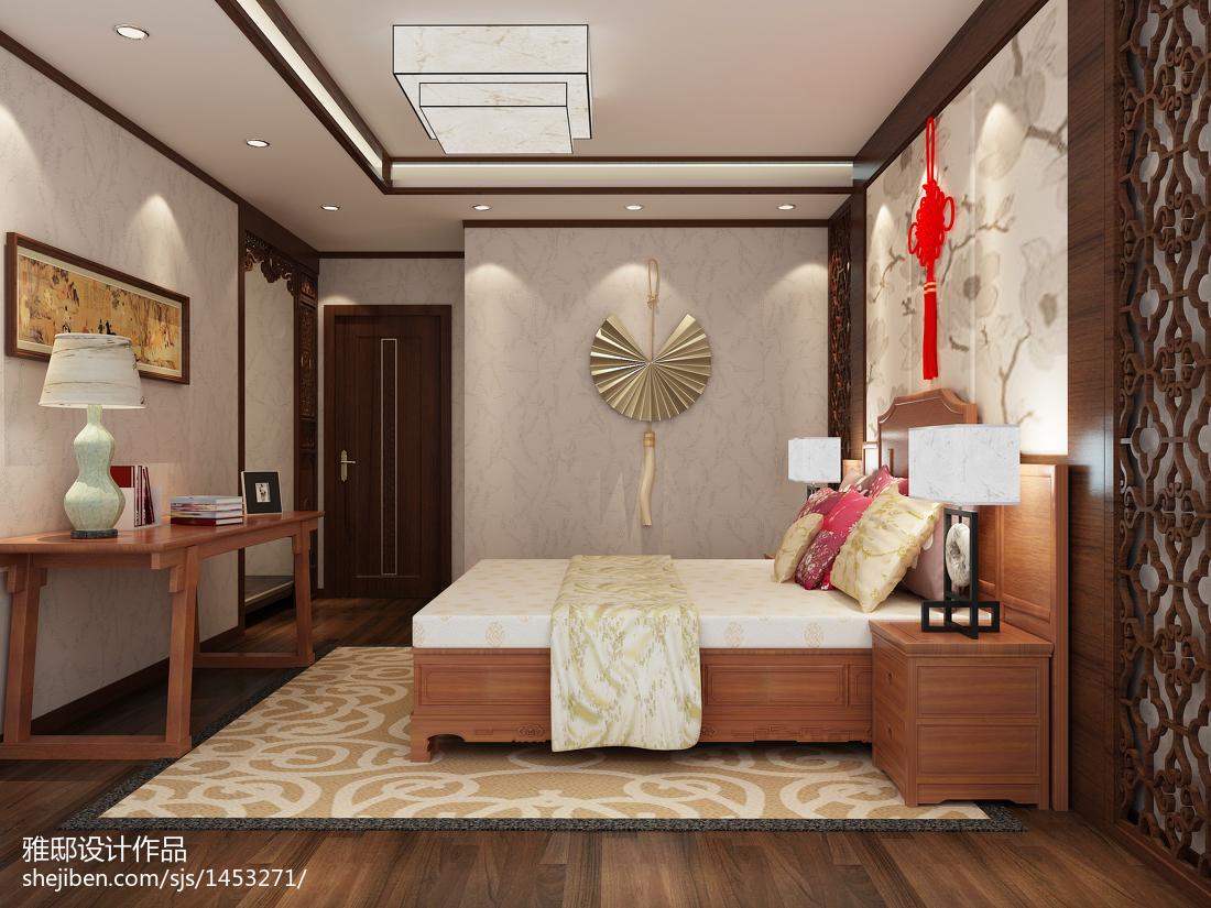 2018精选106平米三居卧室中式实景图片