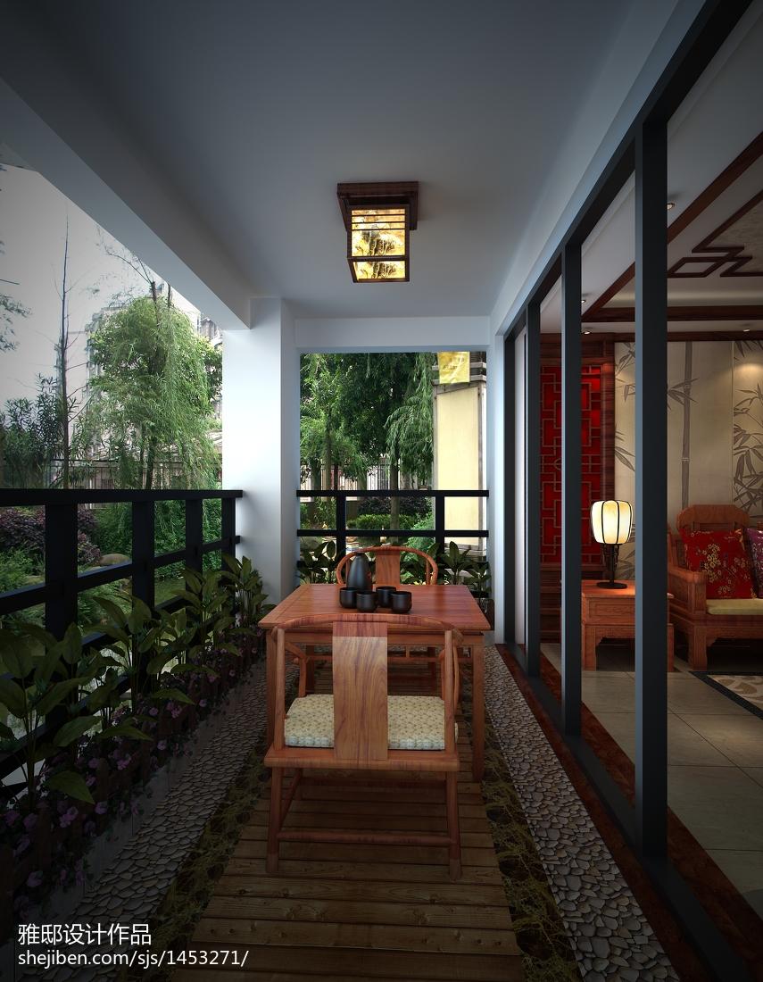热门面积94平中式三居阳台装修效果图