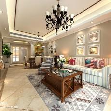 2018精选99平米三居客厅美式实景图