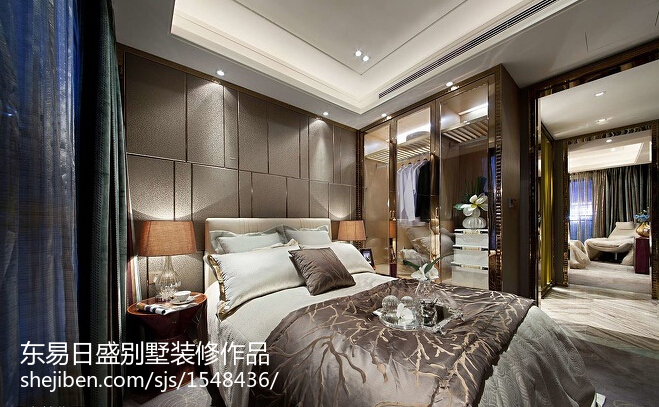 豪华庄重的现代风格卧室装修效果图大全2014图片