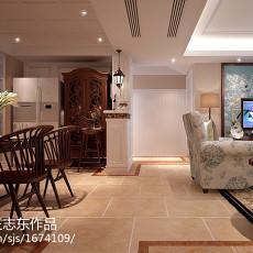 精美面积92平美式三居餐厅装修实景图