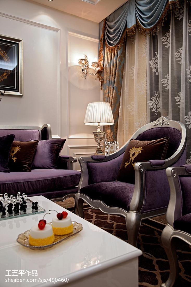 新古典风格样板房客厅窗帘装修效果图大全