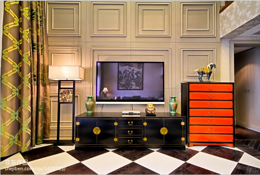 2018120平方中式别墅客厅装修效果图片大全