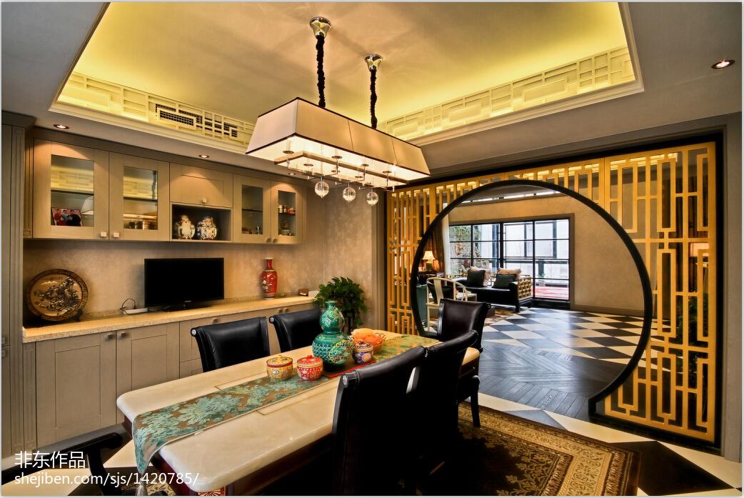 精美134平米中式别墅餐厅装修效果图片欣赏