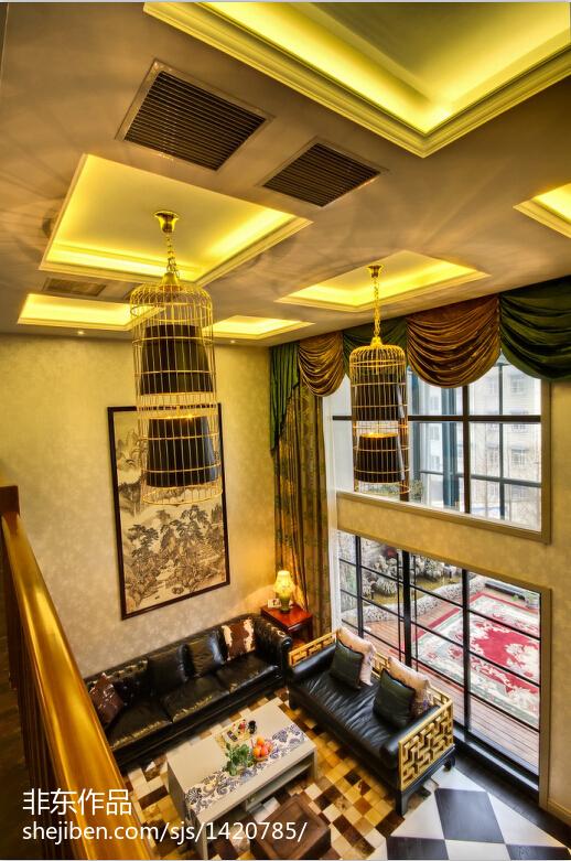 精美126平米中式别墅客厅装修欣赏图片