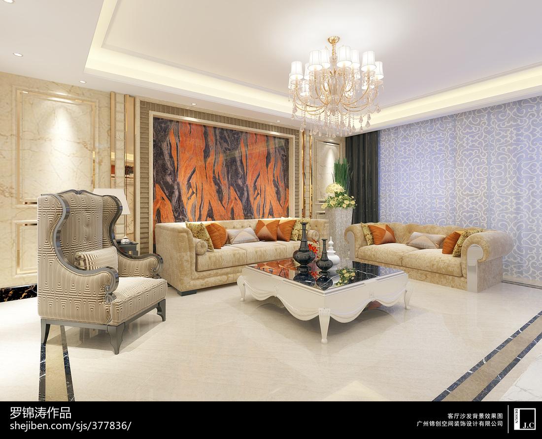 时尚欧式风格装修客厅效果图