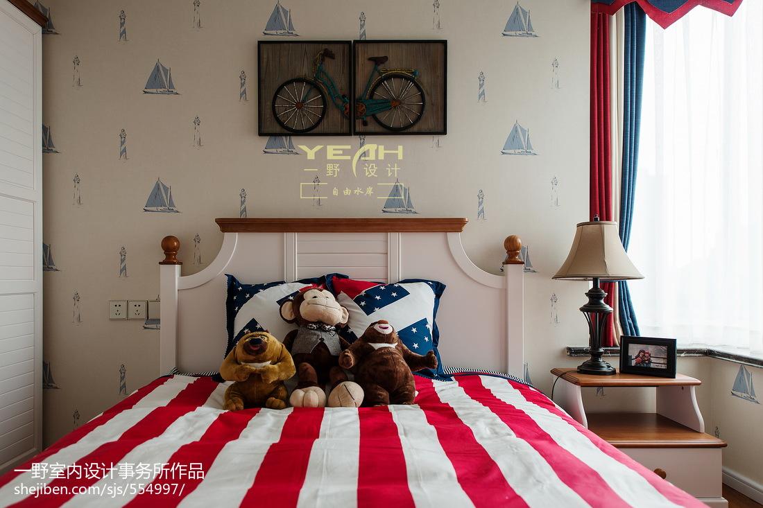 三居室美式风格儿童房背景墙装修效果图