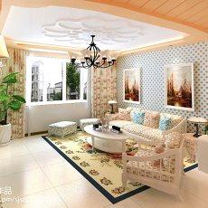 98平米三居客厅田园设计效果图
