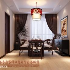 105平米三居餐厅中式实景图