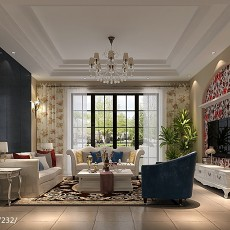 精选124平方美式别墅客厅效果图
