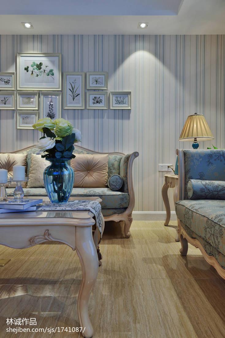 精美91平米三居客厅美式欣赏图