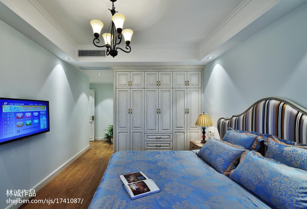 精选面积107平美式三居卧室欣赏图