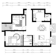 热门大小79平现代二居客厅装修设计效果图片