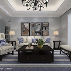 三居客厅美式装修实景图片欣赏