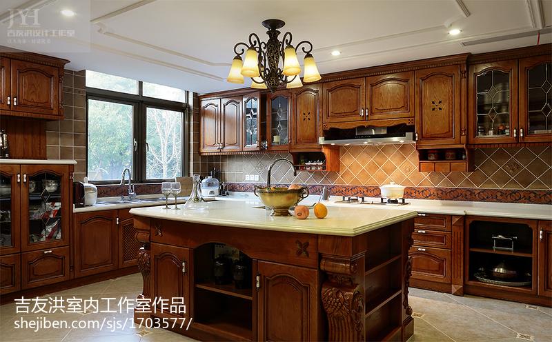 精美别墅厨房美式装修实景图片欣赏