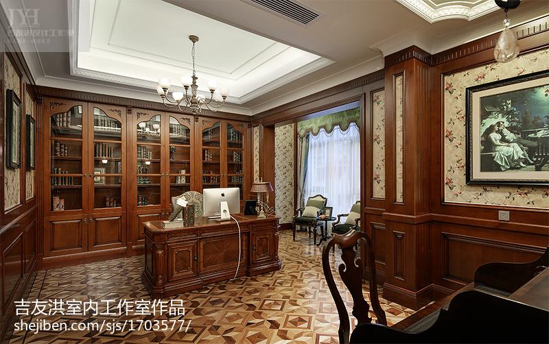热门面积112平别墅书房美式装修设计效果图