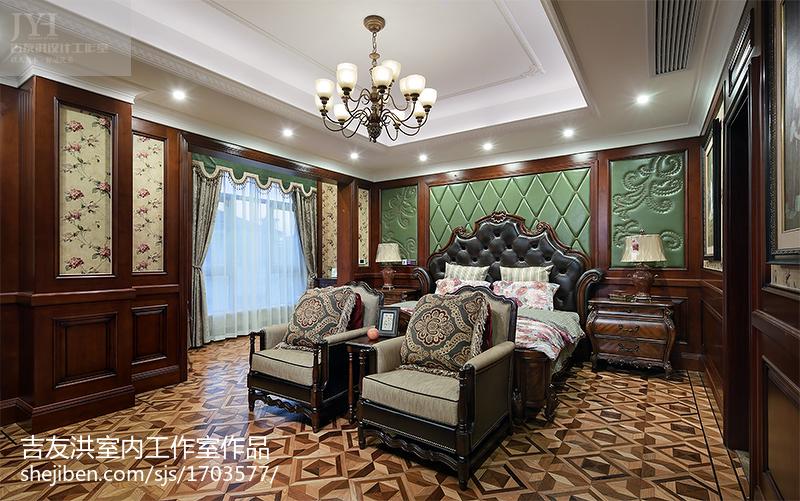 2018128平米美式别墅卧室欣赏图片大全