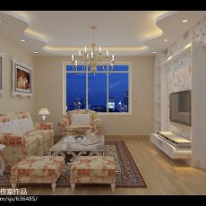 面积123平复式客厅田园装修设计效果图片欣赏