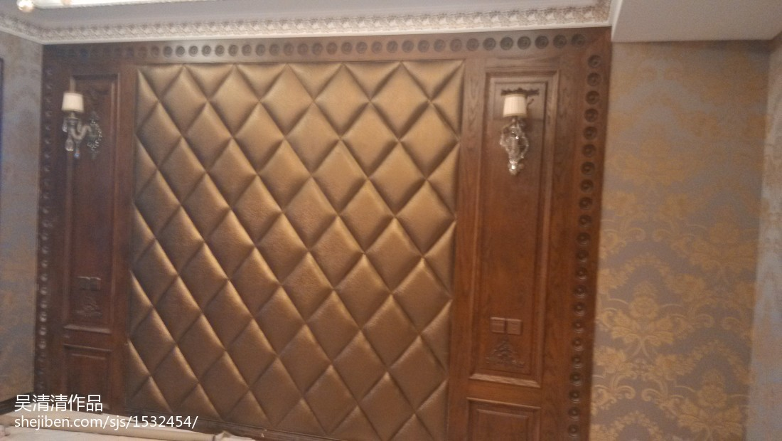 欧式风格装修设计卧室背景墙图片