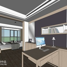 精选面积90平现代三居书房装修图