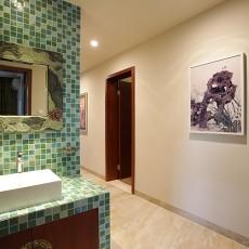 精选面积140平别墅过道中式装修图片欣赏