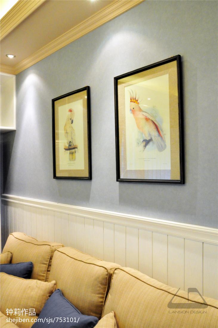 热门105平大小客厅三居混搭装修设计效果图片