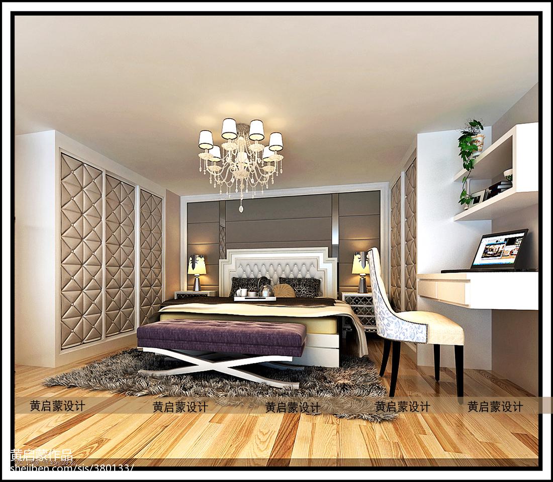 精美75平米欧式小户型卧室实景图片