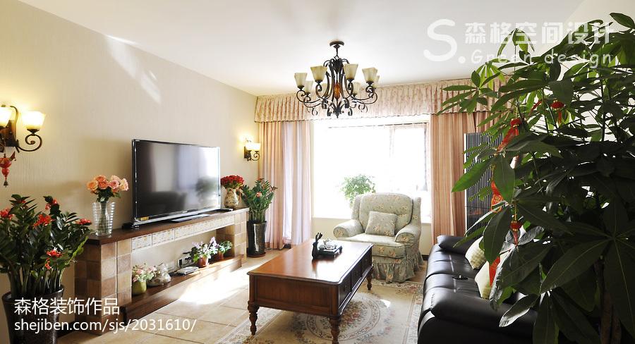 精美面积90平田园三居客厅装修实景图片大全