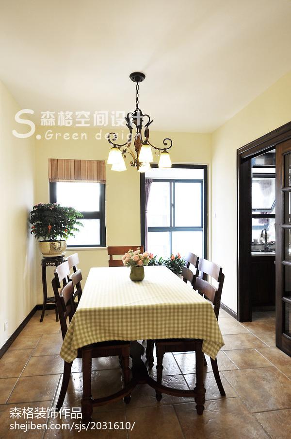 面积105平田园三居餐厅装饰图片